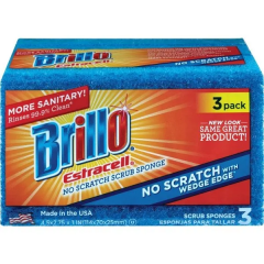 Armaly 21034 Brillo Estracell No-Scratch Wedge Edge Scrub Sponge 3ct