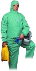 Honeywell Safety 25596/XL Green Coverall w/Hood Provide Level 5-6 Protection Against Noxious Dust & Splash, FR Material XL