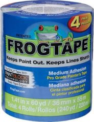 "Shurtape 104956 36mm x 55m (1.41"" x 60yd) Blue FrogTape Pro Grade Painter's Tape 4pk"